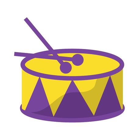 trommel met stokken pictogram afbeelding vector illustratie ontwerp Stock Illustratie