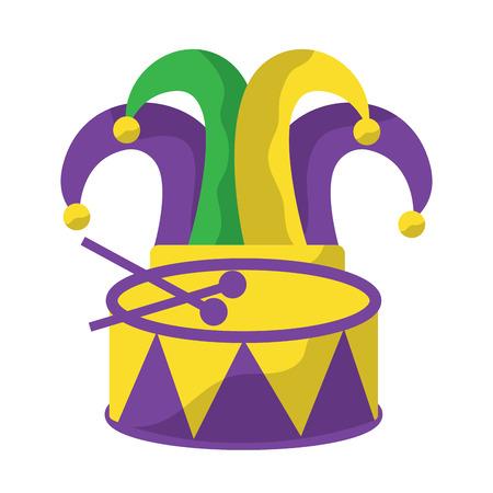 harlequin hat and drum mardi gras carnival icon image vector illustration design