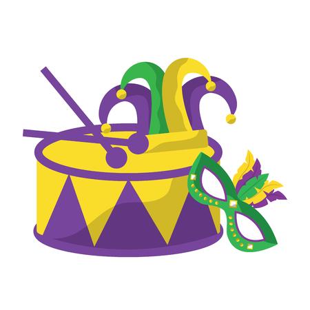 drum with mask harlequin hat mardi gras carnival icon image vector illustration design  Illustration