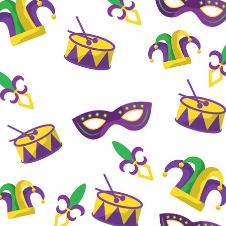 drum mask hat fleur de lis mardi gras carnival icon image vector illustration design  Illustration