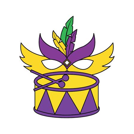 マルディグラマスクとドラムフェスティバルお祝いベクトルイラスト  イラスト・ベクター素材