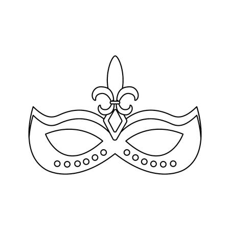 mardi gras glitter mask with fleur-de-lis carnival vector illustration