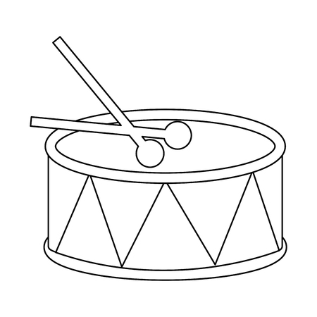 drum and sticks music instrument percussion vector illustration