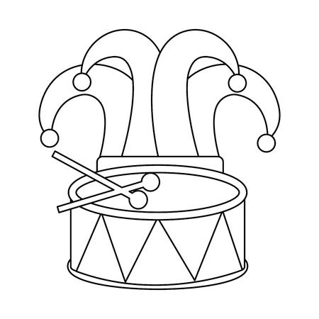 mardi gras hat jester drum music celebration vector illustration Ilustrace