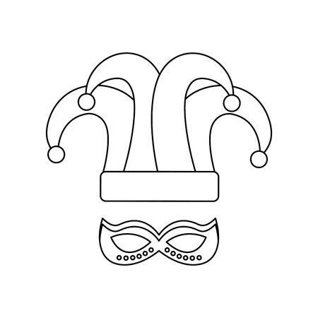 mardi gras hat jester and mask carnival vector illustration 向量圖像