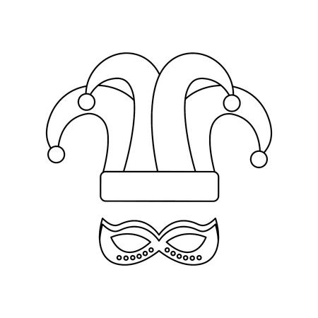 mardi gras hat jester and mask carnival vector illustration Illustration
