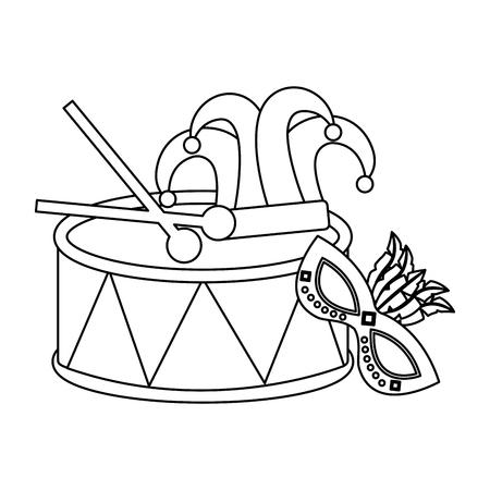 mardi gras mask drum hat jester and sticks vector illustration