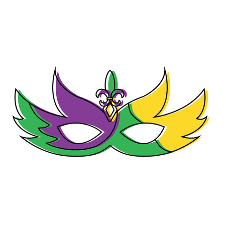 Mardi gras mask with jewelry decoration festive vector illustration.