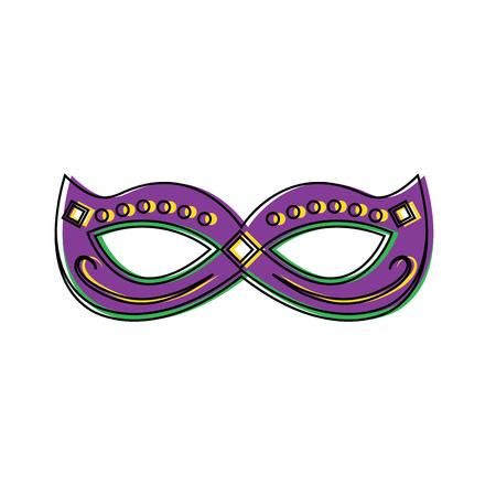 Mardi gras-masker met de feestelijke vectorillustratie van de juweldecoratie Stock Illustratie