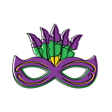 ornate mardi gras carnival mask with feathers festival vector illustration Ilustrace