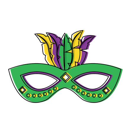 Ornate mardi gras carnival mask with feathers festival vector illustration. Illustration