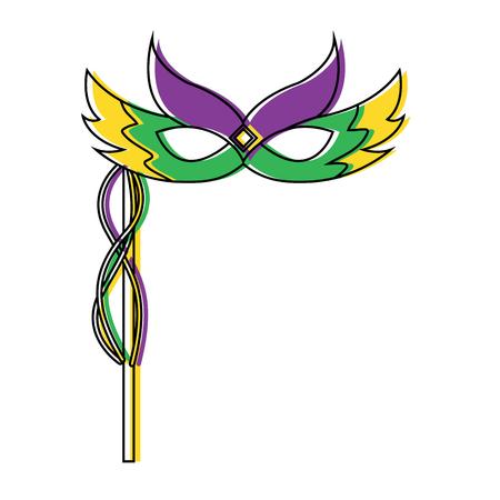 Karneval-Gesichtsmaske mit Federn und Griff Dekoration Vektor-Illustration Standard-Bild - 91255610