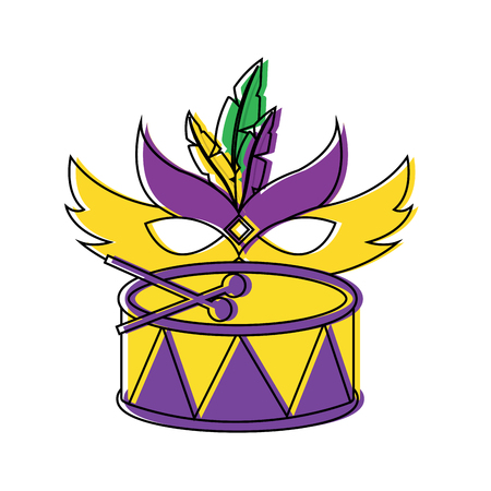mardi gras mask and drum festival celebration vector illustration