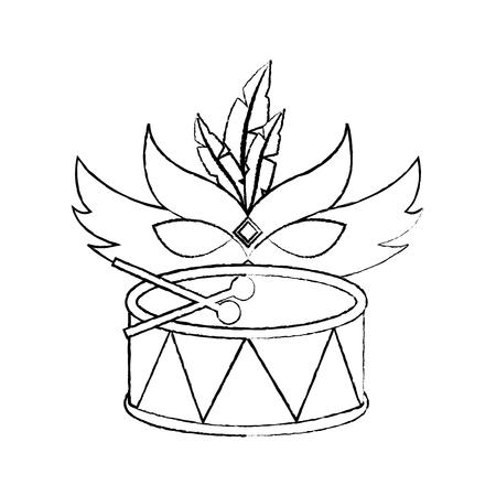 mardi gras mask and drum festival celebration vector illustration