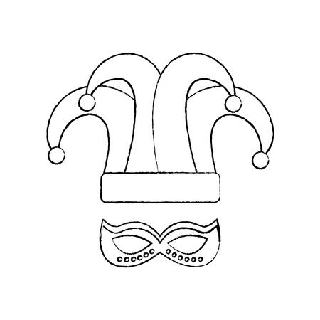 マルディグラ帽子ジェスターとマスクカーニバルベクトルイラスト  イラスト・ベクター素材