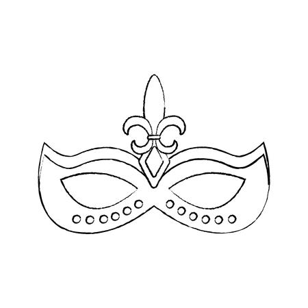 mardi gras glitter mask with fleur-de-lis carnival vector illustration