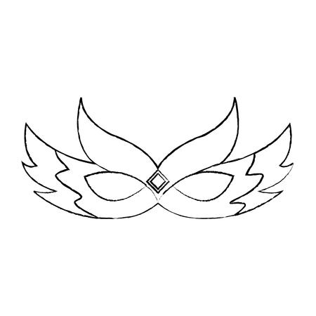 ornate mardi gras carnival mask with feathers festival vector illustration Ilustração
