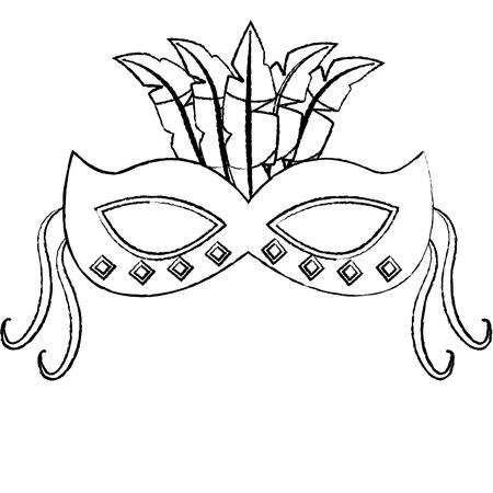 ornate mardi gras carnival mask with feathers festival vector illustration Illustration