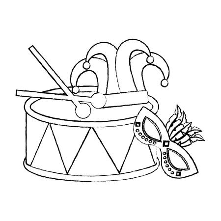 マルディグラマスクドラム帽子ジェスターとスティックベクトルイラスト