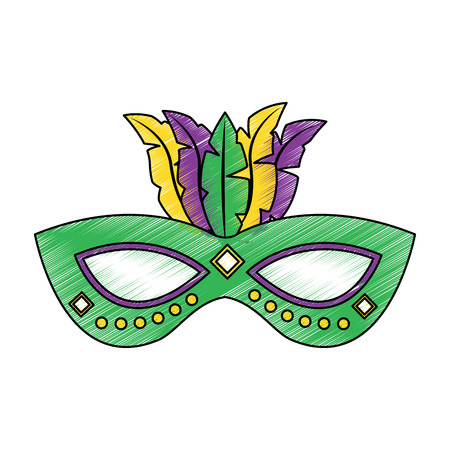 Ornate mardi gras carnival mask with feathers festival vector illustration Ilustração