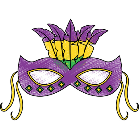 Ornate mardi gras carnival mask with feathers festival vector illustration Illustration