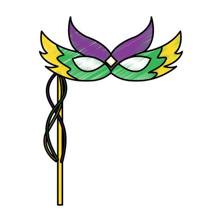 Karneval-Gesichtsmaske mit Federn und Griff Dekoration Vektor-Illustration Standard-Bild - 91210486