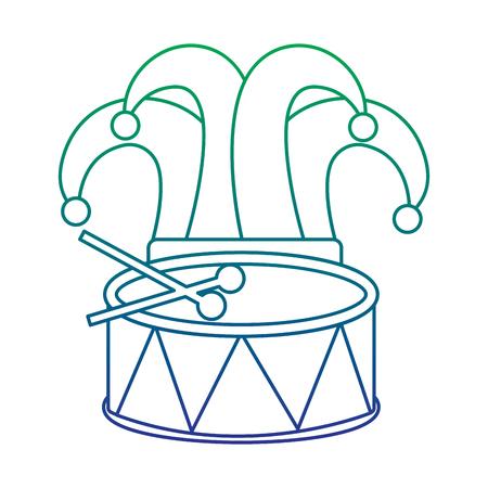 mardi gras hat jester drum music celebration vector illustration Illustration
