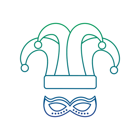 mardi gras hat jester and mask carnaval vector illustration