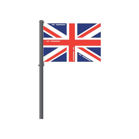 Groot-Brittannië vlag op een zilveren metalen paal vectorillustratie Stock Illustratie