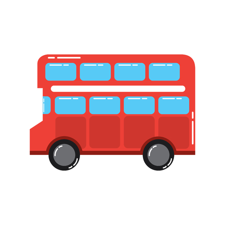 red london double decker bus public transport vector illustration Çizim