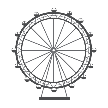 ferris wheel recreation adventure landmark vector illustration