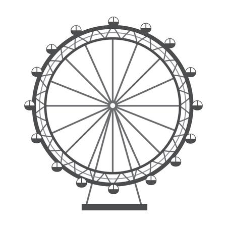ferris wheel recreation adventure landmark vector illustration