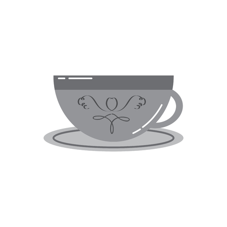 porcelain cup with saucer kitchen vector illustration