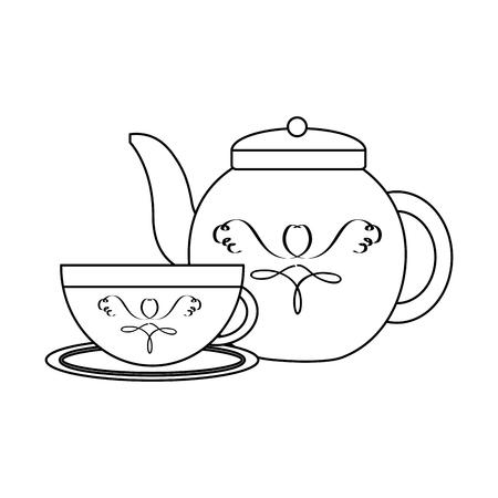 도자기 주전자와 접시 벡터 일러스트와 차 한잔