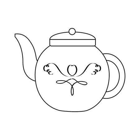 porcelain teapot hot beverage break vector illustration Çizim