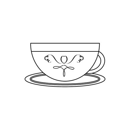 porcelain cup with saucer kitchen vector illustration