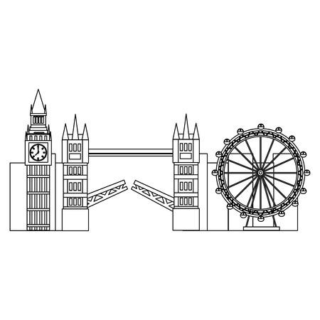 유명한 건물 관광 런던 랜드 마크 벡터 일러스트와 함께 런던 도시