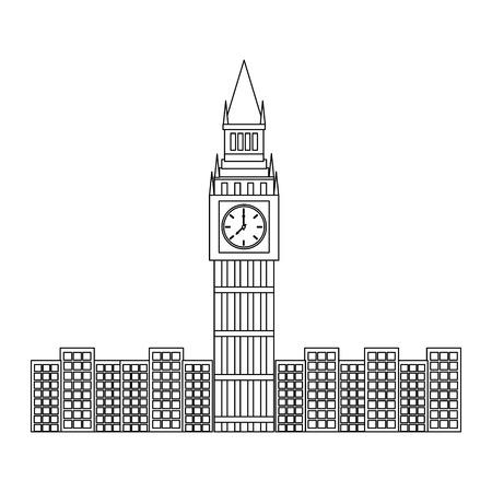 ロンドンビッグベンクロックタワー有名な建物都市ベクトルイラスト  イラスト・ベクター素材