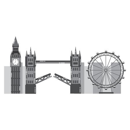 Londen stad met beroemde gebouwen toerisme Engeland bezienswaardigheden vector illustratie Stock Illustratie