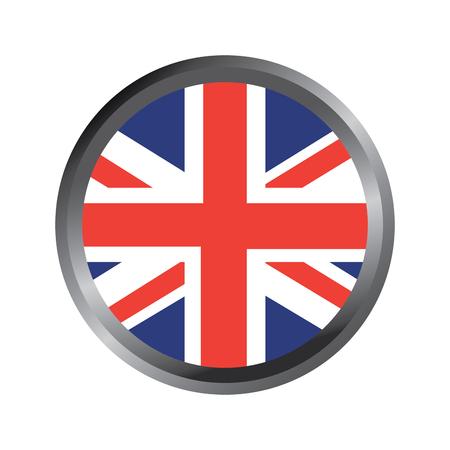 United kingdom flag badge round button vector illustration.