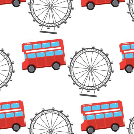 영국 런던 더블 버스 데커 관람차 상징 패턴 벡터 일러스트 레이션