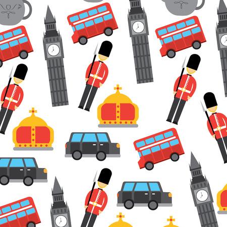 Londres y Reino Unido ciudad soldado corona autobús taxi big ben icons vector Foto de archivo - 91211649