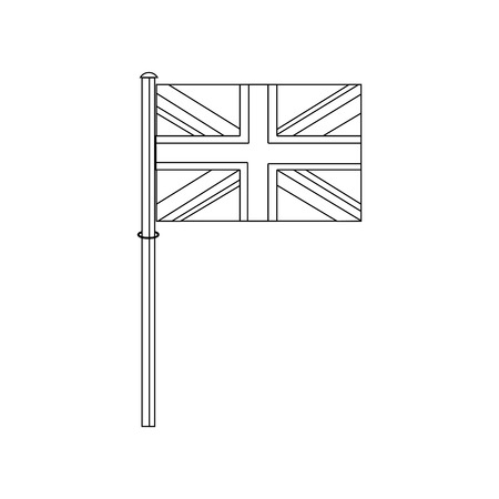 great britain flag on a silver metallic pole vector illustration Ilustrace