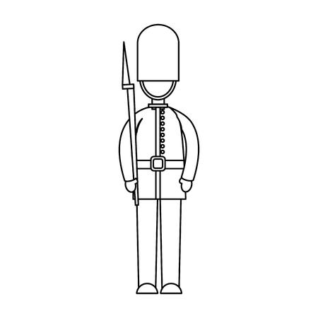 Soldato del fumetto di una guardia della regina reale nell'illustrazione uniforme tradizionale di vettore Archivio Fotografico - 91211703
