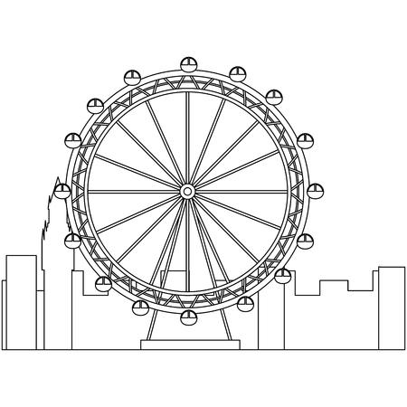ロンドン観覧車レクリエーションランドマークと建物ベクトルイラスト