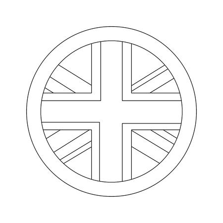 united kingdom flag badge round button vector illustration Illustration