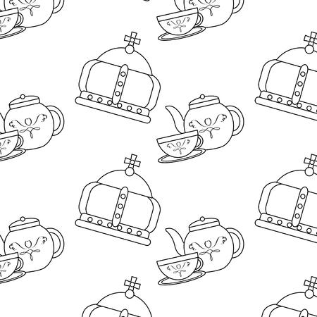 Ilustração em vetor inglês cultura teatime coroa e bule xícara Foto de archivo - 91211712