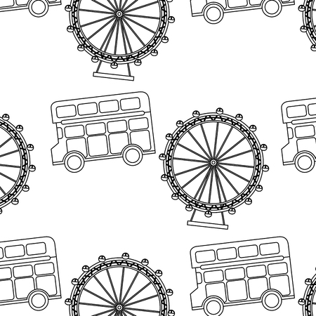 uk london double bus decker ferris wheel symbol pattern vector illustration
