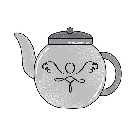 porcelain teapot hot beverage break vector illustration Illustration