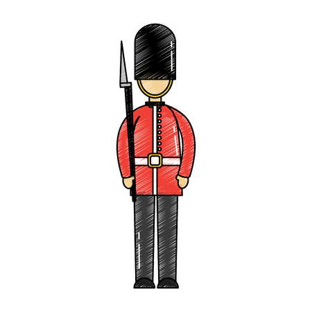 cartoon soldier of a queen guard royal in traditional uniform vector illustration Reklamní fotografie - 91212521